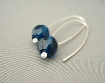 Monaco Blue Faceted Czech Glass Sterling Silver Modern Contemporary Drop Earrings