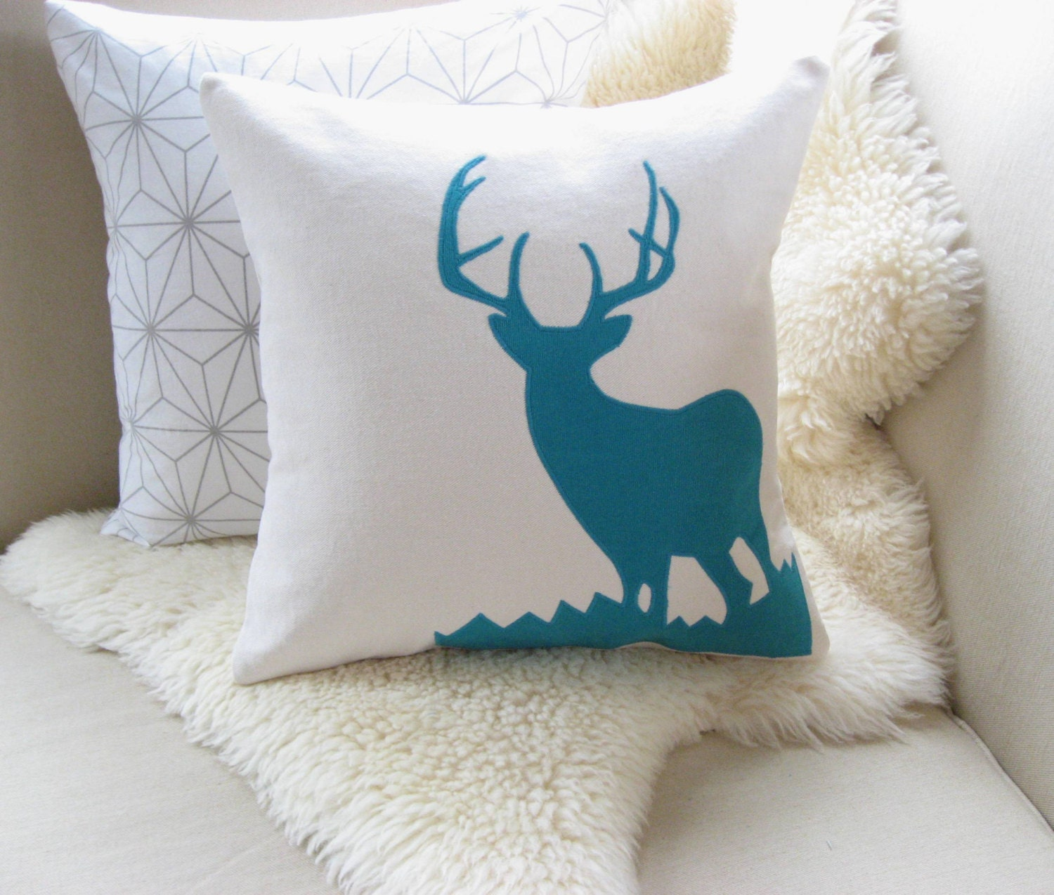 Modern Moose Pillows : Deer Pillow Cover Alpine Chic by VixenGoods on Etsy