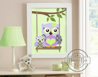 Owls- Nursery art - Owls with Swing Print wall art , Girls Woodland Owl Nursery Art,  Nursery Poster in Purple and Green