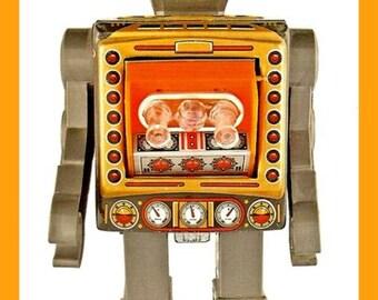 Fridge Magnet vintage 1960's Japanese Robot toy image