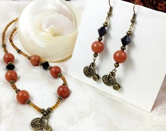 Penny Farthing Charm Necklace Earrings Set Black, Amber Glass Beads with Bronze Tone Beads Matching Earrings Gifts Under 10