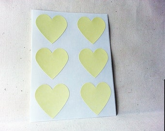 "Pastel Pale Yellow Heart Stickers - 1.5"" . 48 ct . Envelope Seals . Gift Wrap . Yellow Stickers . Scrapbook Supplies"