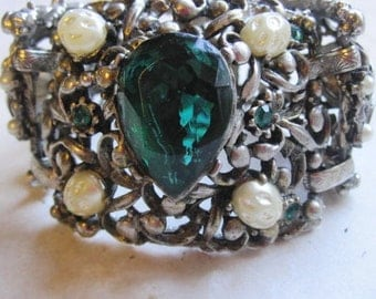 1950s 1960s  Mid-Century Huge Chunky Emerald Green, Pearl, Silver Toned Statement Bracelet