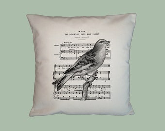 Vintage French Sheet Music and Bird  Collage Handmade 16x16 Pillow Cover - Choice of Fabric - image in ANY COLOR
