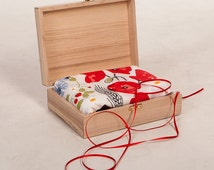 Linen tablecloth AND Personalized wooden Gift Box with Laser Engraving GIFT SET Eco Friendly Wedding Gift , eco GIIft