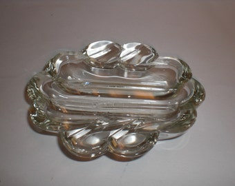 Vintage Safex Ashtray Clear Glass Art Deco Trinket Dish Hard To Find