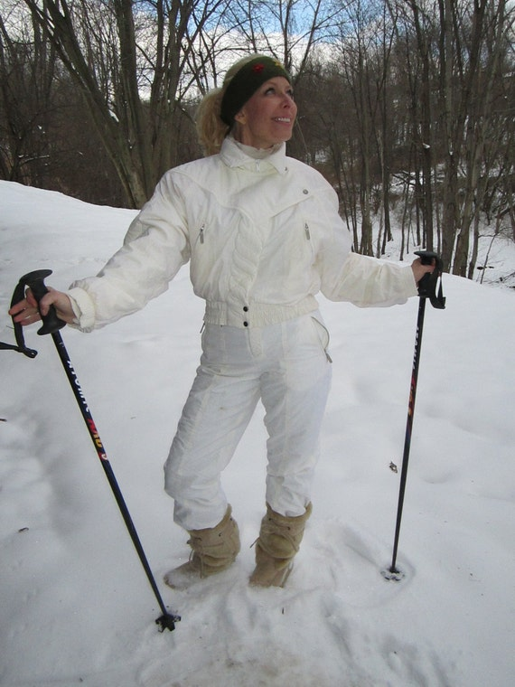 Ski Suit Vintage 80 S Retro White Kitex Quilted Snowsuit
