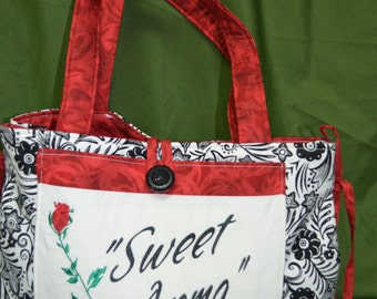 Large Everyday Black and White with Red Tote Bag