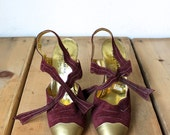 RESERVED : Vintage 1980s Early Manolo Blahnik Red And Gold Heels