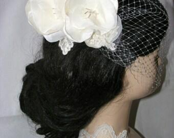 Bridal veil head piece,  vintage ivory flower composition,  wedding hair piece