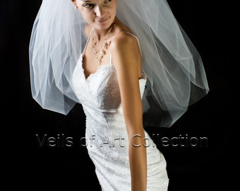 NWT 2 Tier Elbow Length BUBBLE Veil Extra Full Style VE701 White, Ivory