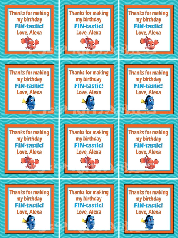 Finding Nemo themed favor tags- Customized Digital File by PJ ...