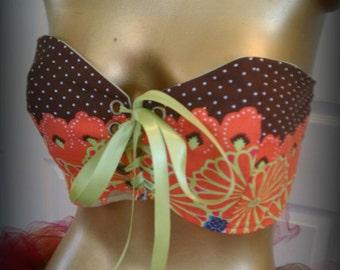 Sale Item Corset, cotton corset style shirt, rave raver bra, gogo dancer, adult tutu bra, boho clothes, 70's style clothes
