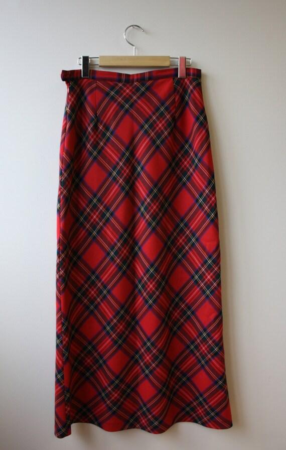 vintage tartan maxi skirt plaid wool skirt