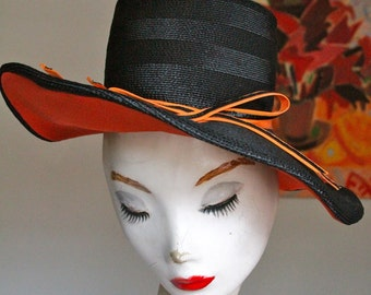 Vintage 1950s Black and Orange Straw Hat- 20""