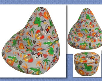 INSTANT DOWNLOAD ~ Kids Bean Bag Sewing Pattern with FREE bonus Foot Stool Cushion Pattern