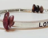 Bracelet Faith Peace Love Metal and Stone Charm Bracelet