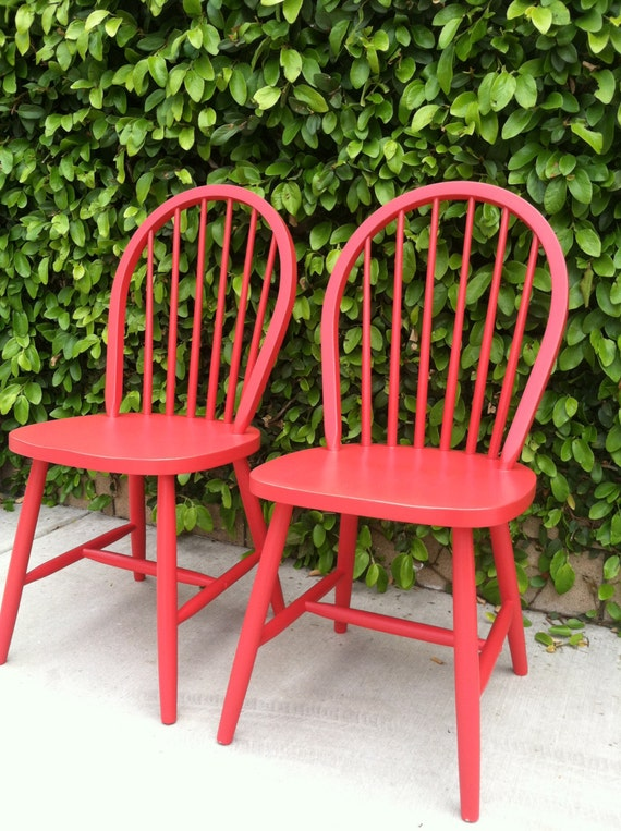 red wooden kitchen chairs 2