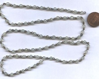 """10"""" Vintage Glass Milky White 5mm. Beaded Brass Chain Section R177"""