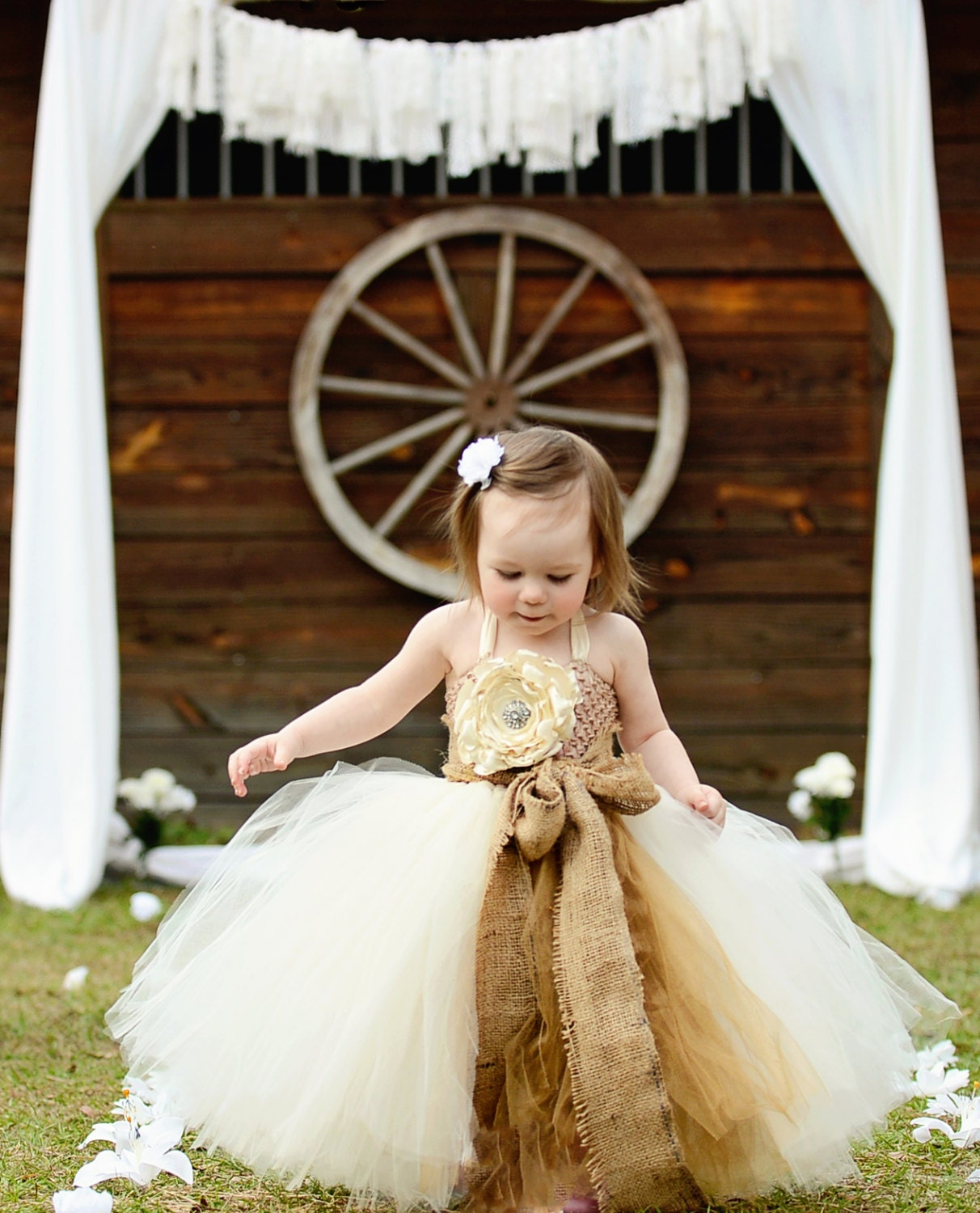 Rustic Dream Ivory flower girl tutu dress with removeable