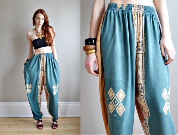 Vtg 80s Ethnic Batik Print Harem Pants Huge Parachute Pants