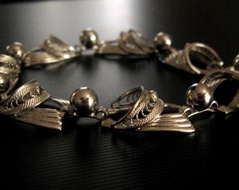 Mid-Century Sterling Silver Plated Partial Filigree Loran Sim Co. Bracelet