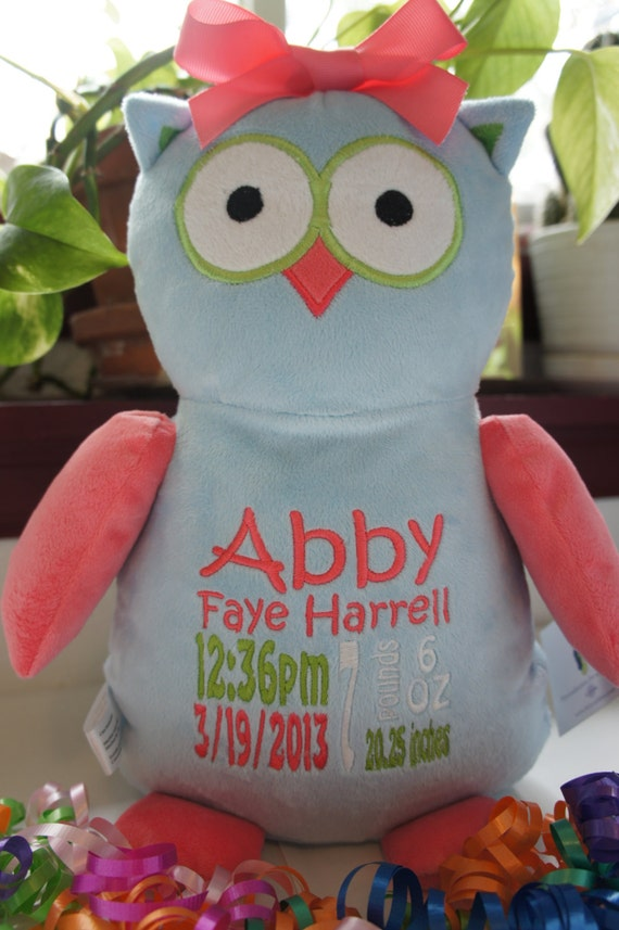 Personalized baby gift baby cubbies hooty lou the like this item negle Choice Image