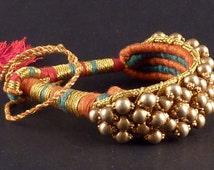 Rajasthan flexible wedding gilded silver bracelet from India - tribal bracelet - ethnic bracelet - rajasthan jewelry - golden bracelet