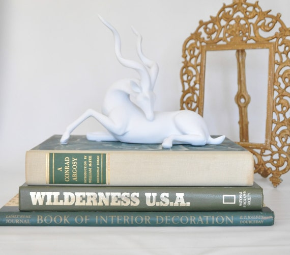 3 LARGE SIZE Books For Coffee Table Decor Green / Woodland