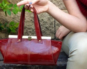 Vintage Leather wristlet, clutch, tote, red bordeaux color, purse, day or night