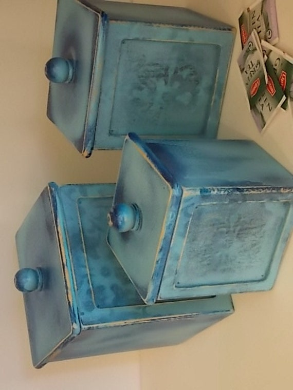 Set of three blue wooden kitchen canisters for Blue kitchen set
