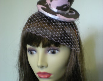 Pink and Brown Horse Themed Mini Hat with Pink Veil on Headband
