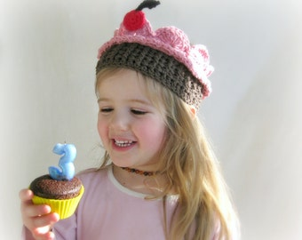 CUSTOM Cupcake Crown with a Cherry on Top Girls Crochet Crown Boutique Cupcake Birthday Crown MADE to ORDER