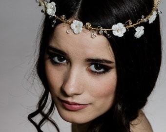 Gold Flower Crystal Crown, Bridal Crown, Bridal Headpiece, Gold Headpiece, Floral Crown, Gold Headband, Crystal Silver Crown, APHRODITE