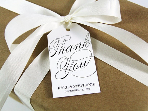 Thank You Tag - LARGE Size - Wedding Favor Tag - Custom Tag - 36 Pieces - 3.5 x 2 inches