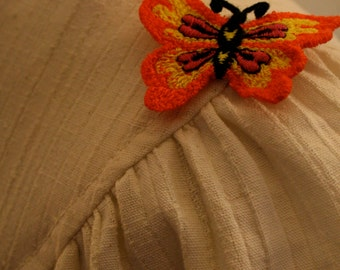 1970s Butterfly and Flowers Shirtdress