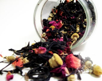 Perfumed Tea Blends- The Red Queen. Oolong, Rose, Strawberry, Cardmom. 1.75oz. Organic Fair Trade.