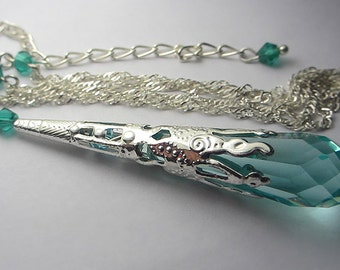 Swarovski Antique Green Necklace Sterling Silver Teal Green Blue Swarovski Crystal Pendant Necklace Icicle Gift for her