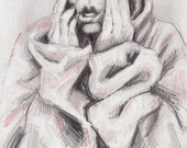 Original Pencil Drawing - Emotive Kid with a Baggy Red Coat