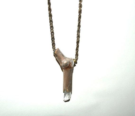 Quartz Crystal Necklace Driftwood Necklace w Quartz