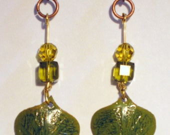 Etched copper earrings olive green swarovski crystals