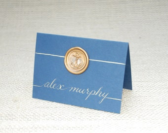 Custom Beach Wedding - Place Cards - Nautical Anchor Wax Seal   Wedding Calligraphy Envelope Addressing for Invitations Also Available