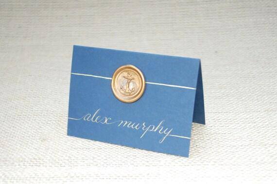 Custom Beach Wedding Place Cards Nautical Anchor Wax Seal