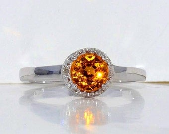 1 Ct Citrine & Diamond Round Ring .925 Sterling Silver Rhodium Finish