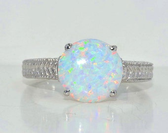10mm Beautiful Opal Round Ring .925 Sterling Silver Rhodium Finish