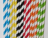25 Mickey Mouse Clubhouse Inspired yellow green blue red orange black Stripe Paper Straws birthday party  Bonus diy straw flags