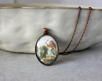 alice and the cards necklace - pendant necklace - alice in wonderland