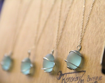 SALE 1 Sugary SEA Glass Necklace perfect for the bridal party- YOU choose the color, personalized jewelry, custom jewelry