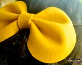 Frosted mustard felt round big bow barrette hair clip extra large bow pop hair accessory canary yellow adult extra large head piece