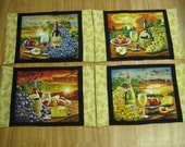 Set of Four Wine Fabric Placemats